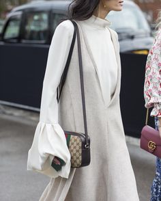 For elevated layering and #chic daywear use @hedvigso as your #style muse and pair muted hues with @gucci's time-honoured accessories. Search 1034269 at #MATCHESFASHION to shop. For more #frow style insider tips and to see what our editors are up to at #fashionweek follow us on Snapchat @ MATCHES.FASHION and check out our #LFW hub by matchesfashion