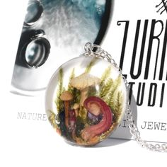 New Real Mushroom Necklaces Just Added To Our Collection Resin Necklace, Resin Jewelry, Necklaces, Clear Casting Resin, Walking In Nature, Hand Designs, Bracelet Set, As You Like, Sterling Silver Chains