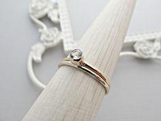 14k Gold Ring SET, Minimalist Gold Ring, Diamond Ring, Stackable Ring, Birthstone Ring, 14kt Gold Ring, April Birthstone, April Birthday