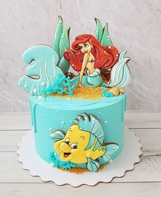 Toddler Birthday Cakes, Mermaid Birthday Cakes, Little Mermaid Birthday, Disney Birthday, Cool Birthday Cakes, Baby Birthday, Little Mermaid Cakes, The Little Mermaid, Ariel Cake