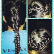 Dutch Braid on both sides tied back into a quadruple flip with a fishtail :)