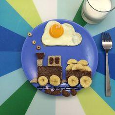 Banana nuttela train with half cooked egg breakfast. kid's breakfast . yum yum