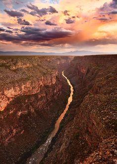 A monsoon sky over the Rio Grande Gorge near Taos, New Mexico by Adam Schallau. I simply LOVE this area! Taos New Mexico, New Mexico Usa, Beautiful World, Beautiful Places, Amazing Places, Amazing Photos, New Mexico Road Trip, Mexico Travel, Rio Grande Gorge