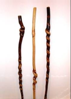 Wooden hiking sticks