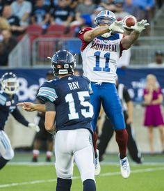 Montreal Alouettes LB Chip Cox intercepts a pass from Ricky Ray - 2016 Ricky Ray, Montreal Alouettes, Canadian Football League, Sports Pictures, Football Helmets, July 25, Action, Retro, Random
