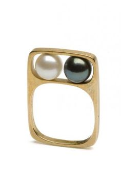 1966 - Mod pearl ring by Jean Dinh Van, France (space age jewelry, atomic era, galactic)