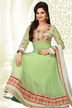 Fascinating Monika Bedi Lime Georgette Anarkali Suit