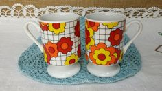 Set of 2 MOD orange yellow red hippy daisy flowers on grid small cups or mugs - Vintage Pair demitasse espresso glamping footed