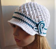 Ovarian Cancer Awareness Crochet Hat - Teal - White Chemo Cap, Ovarian Cancer Awareness Hat - Ready to SHIP