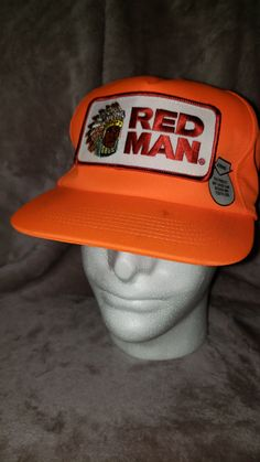 Vintage 80 s Red Man Chewing Tobacco Blaze Orange Hunters Patch Snapback Hat  Cap Fashion Hype Urban c73983cecbeb
