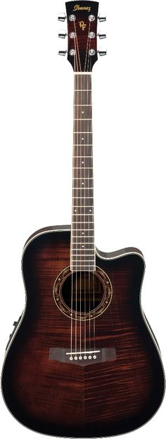 $299 Ibanez PF28ECE Acoustic Guitar, flame top, lam mahogany back and sides