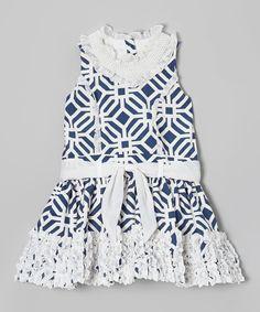 Loving this Trish Scully Child Navy Tile Ruffle Tie-Waist Princess Dress - Toddler & Girls on #zulily! #zulilyfinds