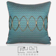 匠心宅品现代中式高档别墅样板房靠包抱枕手工腰花绿金提花装饰枕