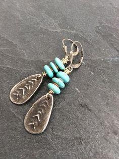 Tribal dangle earrings  turquoise rustic boho by Mollymoojewels