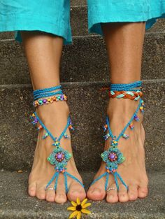 Blue HIPPIE BAREFOOT SANDALS crochet sandals beaded sandals foot jewelry beach wedding bohemian gypsy shoes crochet anklets