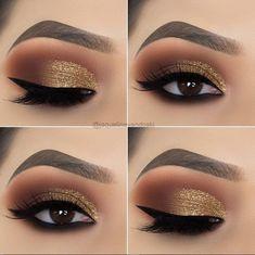 15 Alluring Golden Smokey Eye Makeup Ideas - - - 15 Alluring Golden Smokey Eye Makeup Ideas - Beauty Makeup Hacks Ideas Wedding Makeup Looks for Women Ma. Makeup Hacks, Eye Makeup Tips, Makeup Inspo, Makeup Ideas, Makeup Products, Hair Makeup, Makeup Kit, Eye Makeup Tutorials, Easy Eye Makeup