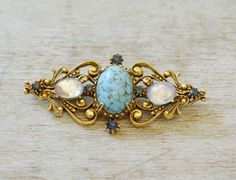Gorgeous-Florenza-Brooch-Bar-Pin-w-Faux-Turquoise-Moonstones