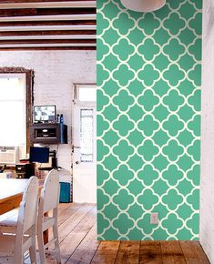 Colourful removable self-adhesive modern vinyl Wallpaper wall sticker - Quatrefoil pattern C007