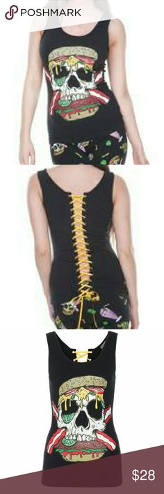 Corset tank top One of our Twisted fast-food tops in an evil burger skull print boasting a tied back  Black Colourful fast-food print throughout Corset at back Style advice: Cut close to body  Fabric: 95% rayon 5% elastane Voodoo Vixen Tops Tank Tops