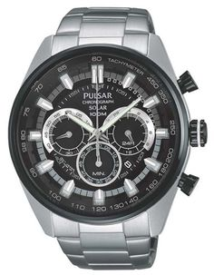 Pulsar Mens On the Go Solar Chronograph - Black Dial with Silver Accents - 100M