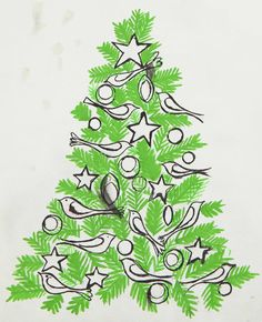 ANDY WARHOL,  Christmas Tree, ink and Dr. Martin's aniline dye on paper 10½ x 9 in. (26.7 x 22.9 cm.)