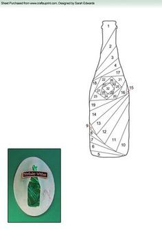 Wine Bottle Iris Folding Pattern - this would make a great card to go along with a gift of wine Iris Folding Templates, Iris Paper Folding, Iris Folding Pattern, Quilling Patterns, Card Patterns, Quilt Patterns, Paper Cards, Folded Cards, Patchwork Cards