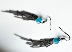 Items similar to extra long earrings, black chain earrings with angelite gemstone, chain tassels, black fringe earrings, blue beaded earrings on Etsy Chain Earrings, Fringe Earrings, Beaded Earrings, Chainmaille, Turquoise Bracelet, Gemstones, Friends, Unique Jewelry, Bracelets