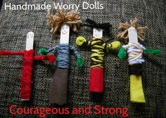 Daisy Courageous and Strong Red Petal. Guatemalan Worry Dolls out of pipecleaners, popsicle sticks, yarn, markers and a glue gun. We talked about ways to handle childhood fears (the dark, spiders) and fun ways to chase away those fears.
