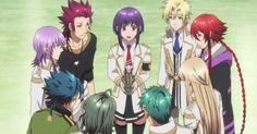 Dionysus, Tsukito, Takeru, Hades, Thor, Balder, Loki, Apollon, and then in the middle is Yui!