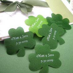Add a romantic touch to your Irish wedding or celebration, by scattering these personalized shamrock shaped petals on tables or sprinkle around your cake or favors.