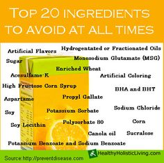 If your health conscious you likely read labels but do you really know what ingredients to avoid? Read 20 Ingredients to Avoid