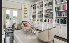 Cozy and traditional home library with British flag pillow