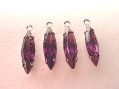 Vintage Cardinal Purple Navette Drops 15x4 by brassgoldbeads