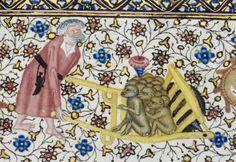 Wheelbarrow of monkeys Hours of Elizabeth de Bohun, 15th c.