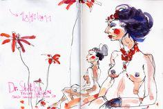 urbansketchers: Dr Sketchy am Watercolor Sketchbook, Watercolor Artists, Watercolor Portraits, Urban Sketchers, Art And Illustration, Collages, Human Drawing, Drawing Art, Tinta China