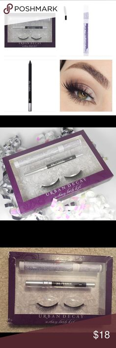 Urban Decay Lash Kit In this kit, you'll find everything you need to make your eyes look INCREDIBLE, including: Urban Lash in Minx (a lush, flare-shaped style), a Travel-size 24/7 Glide-On Eye Pencil in Zero, Urban Lash False Lash Mascara (this glossy mascara blends false lashes with your own – no one will know which ones are real!) and Lash Adhesive *Please note that the box is roughed up and torn a little from shipping, but the product is new and perfect.* Urban Decay Makeup False…