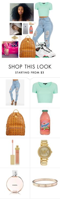 """""""Jays."""" by anicolelauren ❤ liked on Polyvore featuring Topshop, MCM, Victoria's Secret, AERIN, Michael Kors, Chanel, Cartier, women's clothing, women's fashion and women"""
