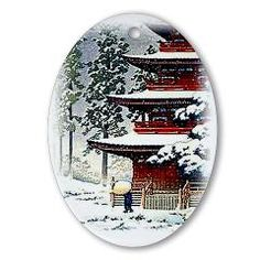 New Orleans Fig Street Studio: Japanese Oval Ornament: Uniques limited edition and vintage Christmas Ornaments. Japanese Ornaments, Winter Christmas, Christmas Ideas, Ornaments Design, Vintage Christmas Ornaments, How To Make Ornaments, Red Ribbon, American Artists, Fig
