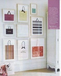 """This would be so cute in my bedroom! """"Frame your designer brand shopping bags!  PS: you can also request companies for a bag without the need for a purchase! ;) -kc"""""""