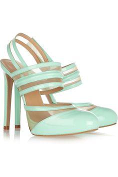 Versus Patent leather and Mesh Pumps in Green (mint) Stilettos, Pumps Heels, Jil Sander, Oxfords, Cute Shoes, Me Too Shoes, Jimmy Choo, Color Menta, Tiaras