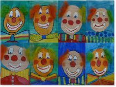 art with children elementary school clowns - - Clown Crafts, Carnival Crafts, Circus Art, Circus Theme, Art Education Lessons, Art Lessons, Adult Crafts, Crafts For Kids, Clown Images