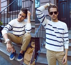 International Playground Stripe Sweater, Khakis, Similar Here  > Bag, Vans Boat Shoes, Tko Watch, Aviators - Stripe Sight  - Adam Gallagher