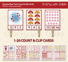 Need a fun Chinese theme activity for your classroom?This adorable Count and Clip cards are perfect for your February Math classroom activity.Good for counting practice and number recognition. Clipping the number will also beneficial for developing fine motor ability.==== GAME PLAY ====Count the items shown on the cards.