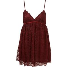 Babydoll Lace Nightie ($70) ❤ liked on Polyvore featuring intimates, sleepwear, nightgowns, dresses, pajamas, tops, lingerie, women, lace nightie and babydoll sleepwear