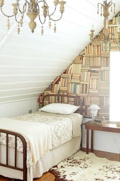NEST | Cabin in Franklin Tennessee | Leipers Fork  Real stacked books on the wall. I may have to do this now.