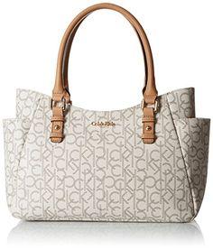 Calvin Klein Logo Shopper Bag, Almond/Khaki/Cashew Saffiano, One Size Calvin Klein