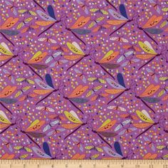 Michael Miller Helen's Garden Dancers Plum from @fabricdotcom  Designed by Tamara Kate for Michael Miller Fabrics, LLC, this fabric is perfect for quilting, apparel and home décor accents.  Colors include citron, coral, light blue, aqua, white and violet on a plum background.
