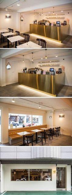 [No.174 금요일다섯시] 홍대 합정 15평 작은 카페인테리어, 골드 금속 바, 파사드 디자인 Studio Interior, Restaurant Interior Design, Cafe Interior, Kitchen Interior, Interior And Exterior, Cafe Design, Store Design, Food Design, Counter Design