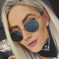 cb208d5398 Polygon Retro Metal Sunglasses Vintage Mirror UV400