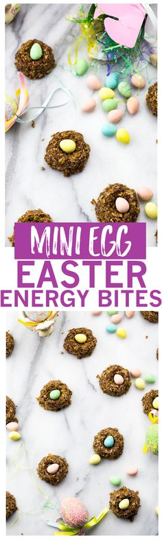 Healthy No-Bake Energy Bite Easter Nests are made with coconut, oats, cocoa and honey for a delicious, healthy snack that's low in refined sugars!